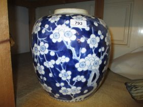 Large Chinese Blue And White Prunus Blossom Decorated