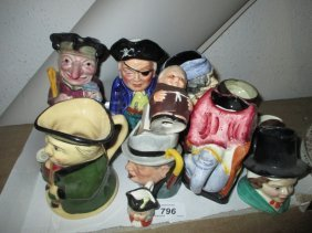 Small Collection Of Various Character And Toby Jugs By