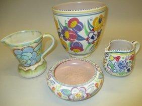 Poole Pottery Floral Decorated Jardiniere, Similar Jug