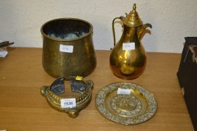 Victorian Cast Brass Inkwell, An Eastern Bangle And
