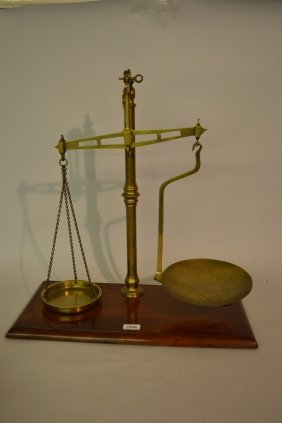 Pair Of Brass And Mahogany Balance Scales With Various