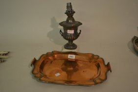 Copper Two Handled Tray And A Table Oil Lamp In The