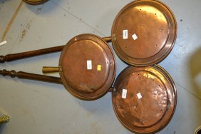 Three 19th Century Copper Warming Pans (one Minus