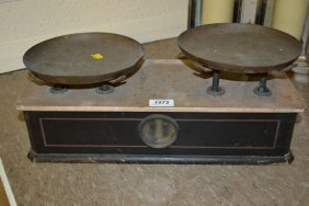 Pair Of French Brass And Wooden Scales