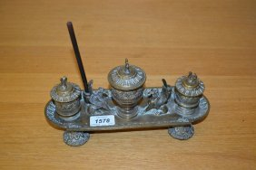 19th Century French Brass Three Bottle Inkstand With