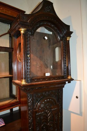 Antique Oak Longcase Clock Case With Later Carved