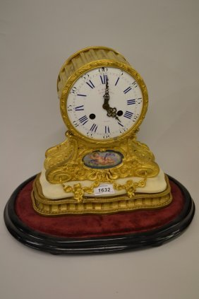 19th Century French Ormolu Drum Form Mantel Clock, The
