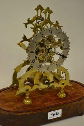 Small 19th Century Brass Skeleton Clock, The Pierced