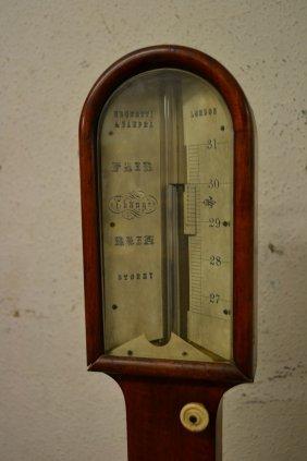 19th Century Mahogany Cased Stick Barometer By Negretti