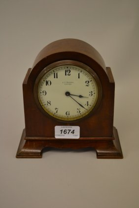 Small Edwardian Mahogany Mantel Clock By Benson,