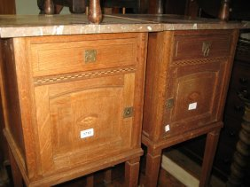 Pair Of Arts And Crafts Oak Marble Top Bedside