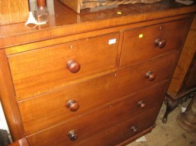 Victorian Mahogany Straight Front Chest Of Two Short