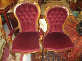 Pair Of Victorian Walnut And Button Upholstered Ladies