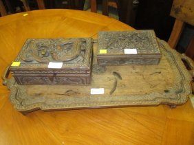 Indian Carved Wooden Wine Table, Two Similar Boxes And