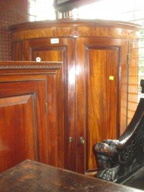 George Iii Mahogany Two Door Bow Fronted Hanging Corner