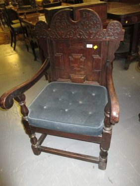19th Century Oak Wainscot Chair In 17th Century Style