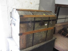 19th Century Tin And Wooden Slatted Dome Top Trunk