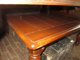 20th Century Square Coffee Table Raised On Turned And