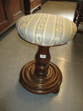 Victorian Walnut Circular Adjustable Piano Stool On