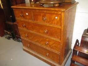 Victorian Satin Birch Straight Front Chest Of Two Short