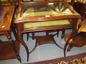 Edwardian Mahogany Bijouterie Table With Bevelled Glass
