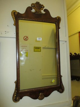 Reproduction Yew Wood And Parcel Gilt Wall Mirror In