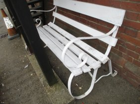 White Painted And Wrought Iron And Wooden Slatted