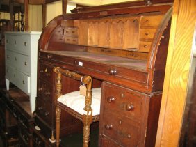 Victorian Walnut Twin Pedestal Cylinder Desk With A