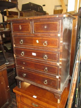 Reproduction Mahogany And Line Inlaid Dwarf Chest (for