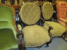 Pair Of Victorian Carved Walnut And Button Upholstered