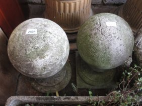 Pair Of Cast Concrete Spherical Column Finials