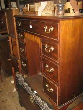 1920's Mahogany And Crossbanded Kneehole Desk Raised On