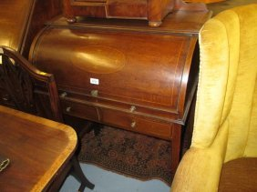 Edwardian Mahogany And Marquetry Inlaid Cylinder Desk