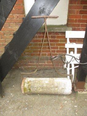 Antique Stone Garden Roller Having Wrought Iron Handle