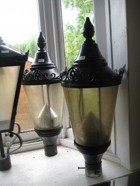 Pair Of Circular Black Patinated Metal Street Lamp