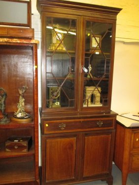 Edwardian Mahogany And Line Inlaid Bookcase With Bar