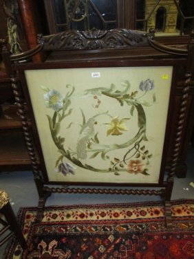 Early 20th Century Mahogany Firescreen Inset With A