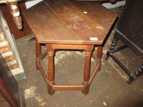 Oak Hexagonal Occasional Table On Baluster Turned