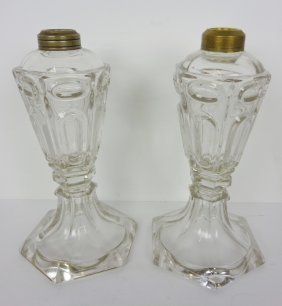 Pair Whale Oil Lamps