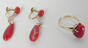 Coral Earrings And Ring