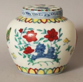 A Chinese Doucai Porcelain Chicken Heaven Jar & Cover,