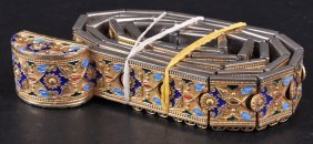 A SUPERB RUSSIAN ENAMEL DECORATED BELT.