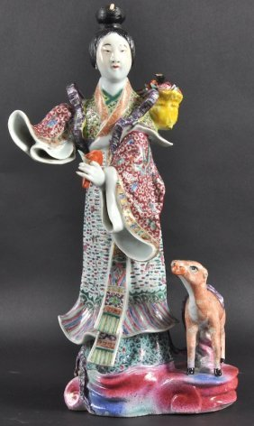 A 19TH CENTURY CHINESE CANTON ENAMEL FIGURE OF GUA