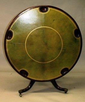 A Good Regency Mahogany Circular Gaming Table With
