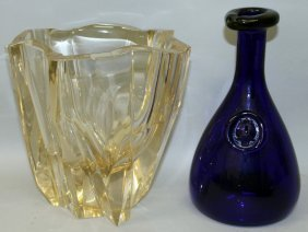 A Heavy Cut Glass Vase And Blue Glass Carafe (2).