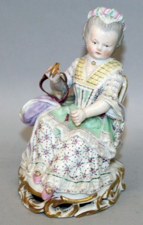 A 19th Century Meissen Figure Of A Woman, Lace