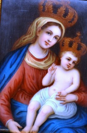 A Good German Porcelain Plaque, Madonna And Child.