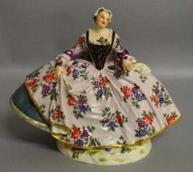 A Large Meissen Figure Of A Young Lady In A Flowing