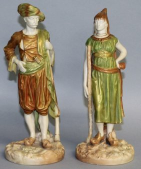 A Pair Of Royal Worcester Gilt Figures Of A Turk And