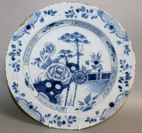 An 18th Century English Delft Blue And White Dish